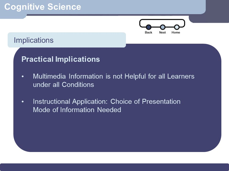 Scenario Cognitive Science Implications Practical Implications Multimedia Information is not Helpful for all Learners under all Conditions Instruction