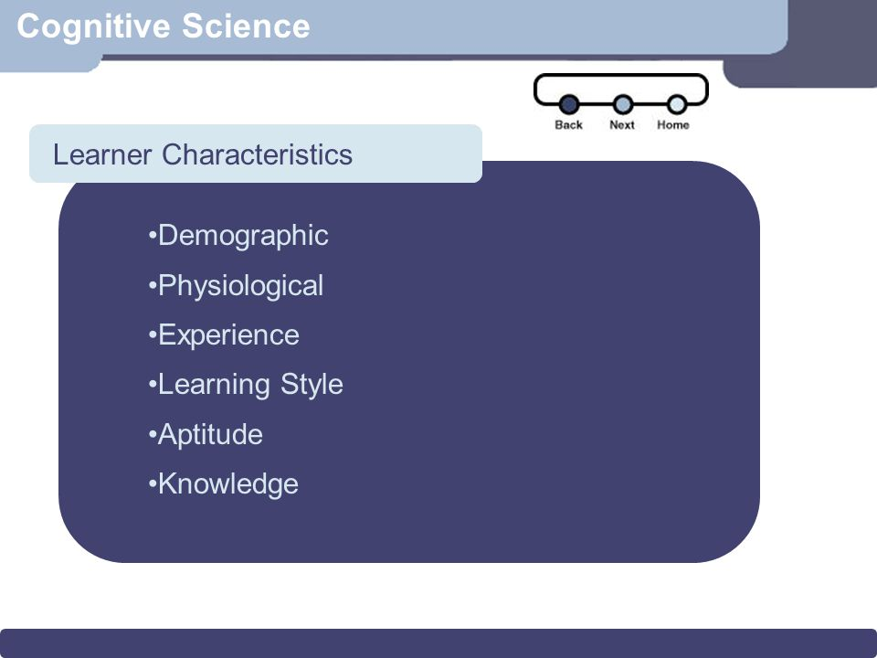 Scenario Cognitive Science Demographic Physiological Experience Learning Style Aptitude Knowledge Learner Characteristics