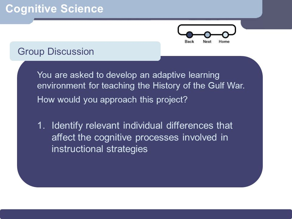 Cognitive Science Vocabulary Acquisition Multimedia Effect for Vocabulary Acquisition Main effect of verbal ability but not of spatial ability Main effects of the availability of verbal annotations and of visual annotations Two-way interaction of the availability of verbal and visual annotations Study 2–Results (Vocabulary)