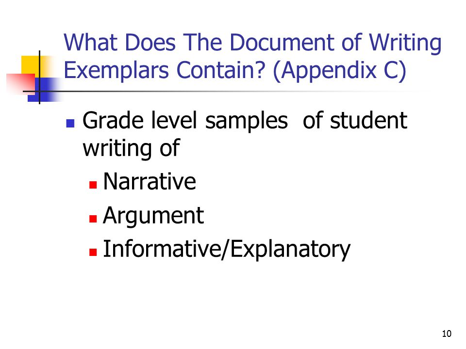 10 What Does The Document of Writing Exemplars Contain.