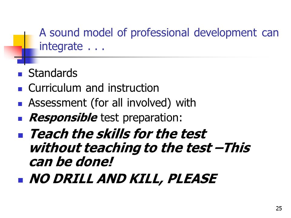 25 A sound model of professional development can integrate...