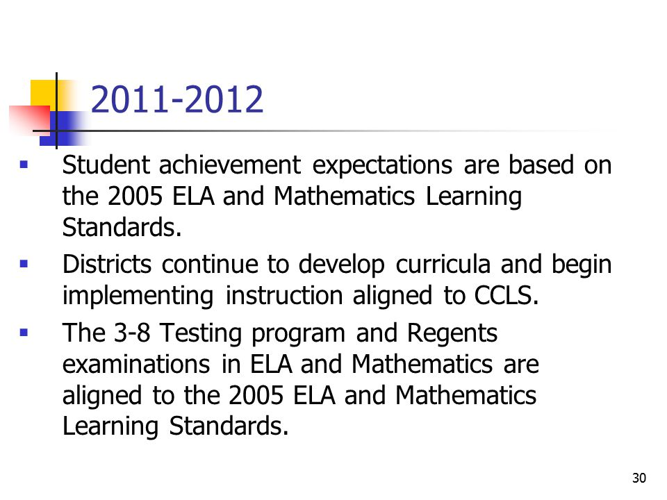 30 2011-2012  Student achievement expectations are based on the 2005 ELA and Mathematics Learning Standards.