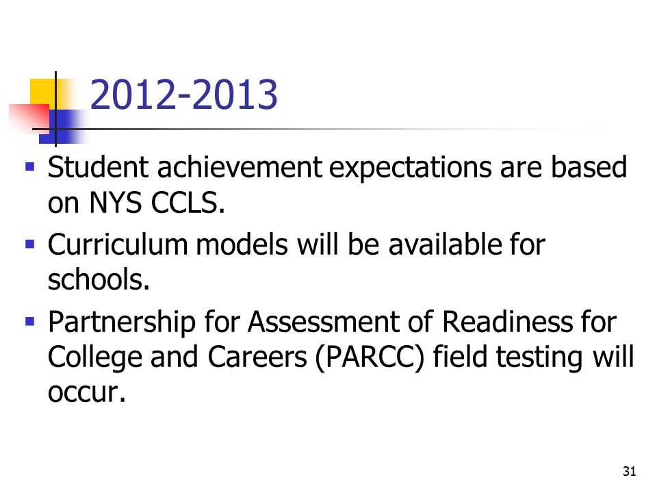 31 2012-2013  Student achievement expectations are based on NYS CCLS.