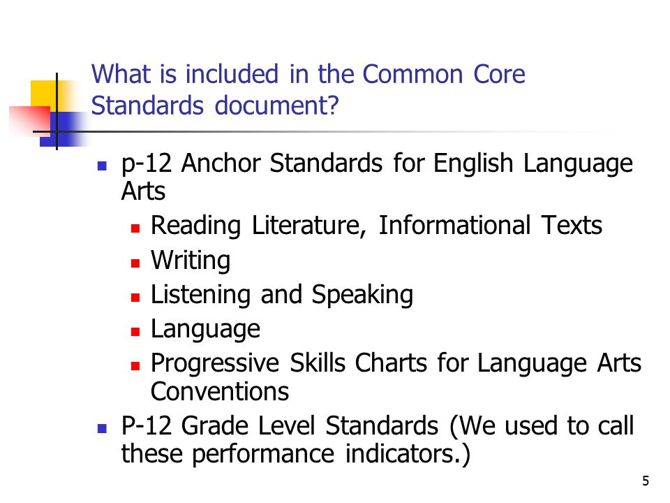 6 What is included in the Common Core Standards document.