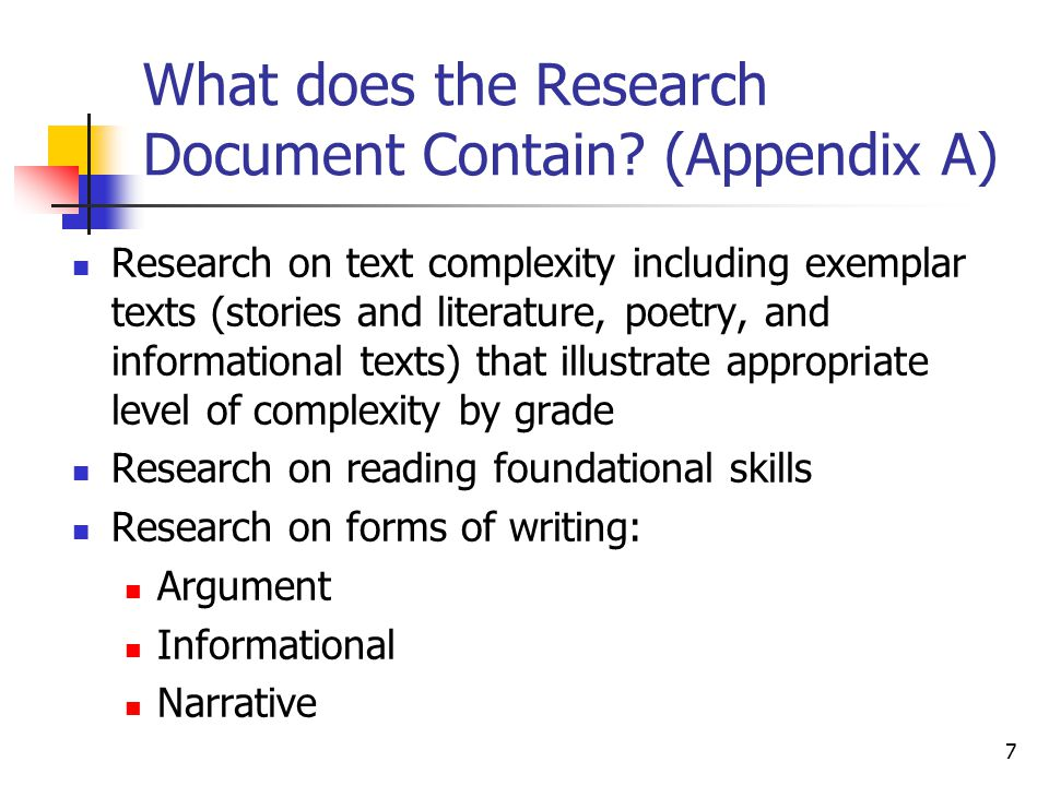 7 What does the Research Document Contain.