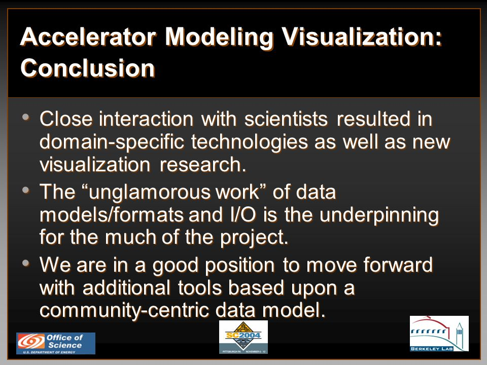 Accelerator Modeling Visualization: Conclusion Close interaction with scientists resulted in domain-specific technologies as well as new visualization research.