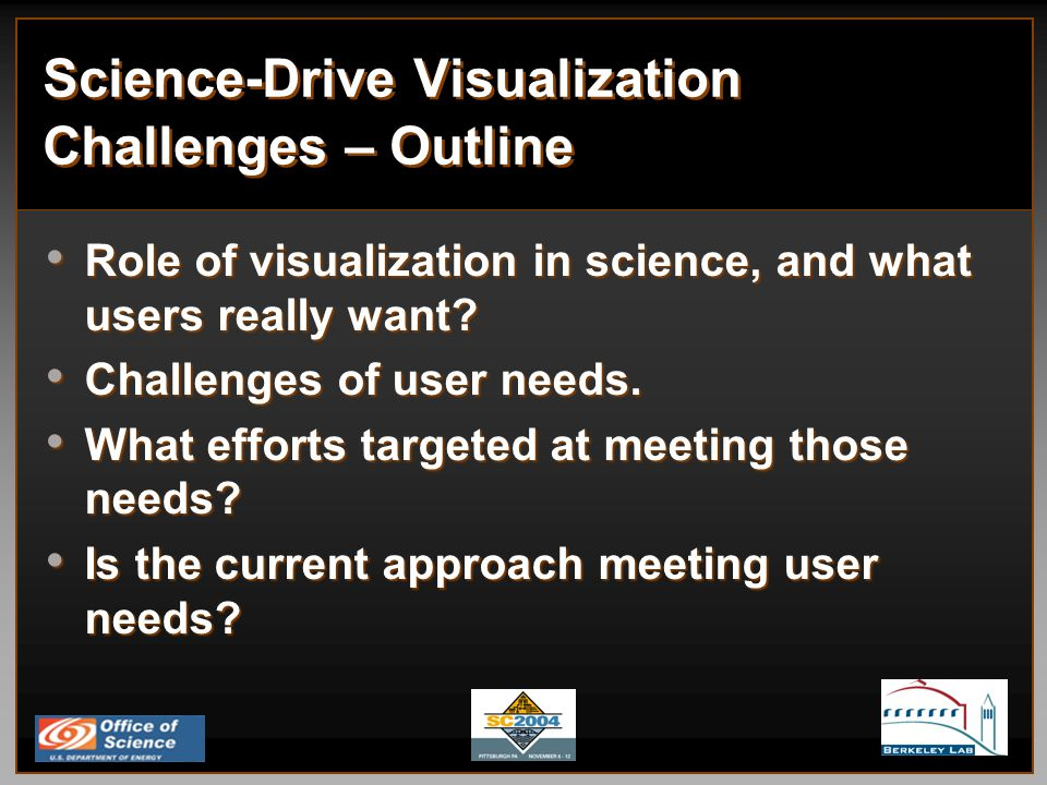 Science-Drive Visualization Challenges – Outline Role of visualization in science, and what users really want.