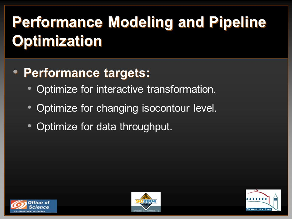 Performance Modeling and Pipeline Optimization Performance targets: Performance targets: Optimize for interactive transformation.