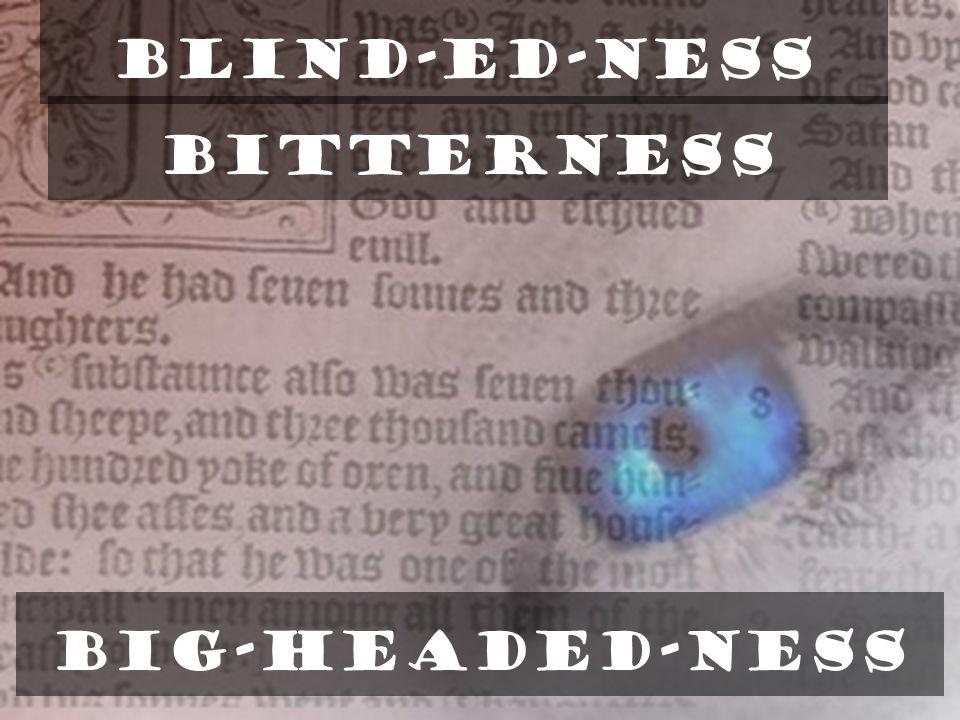 BITTERNESS BLIND-ED-NESS BIG-HEADED-NESS