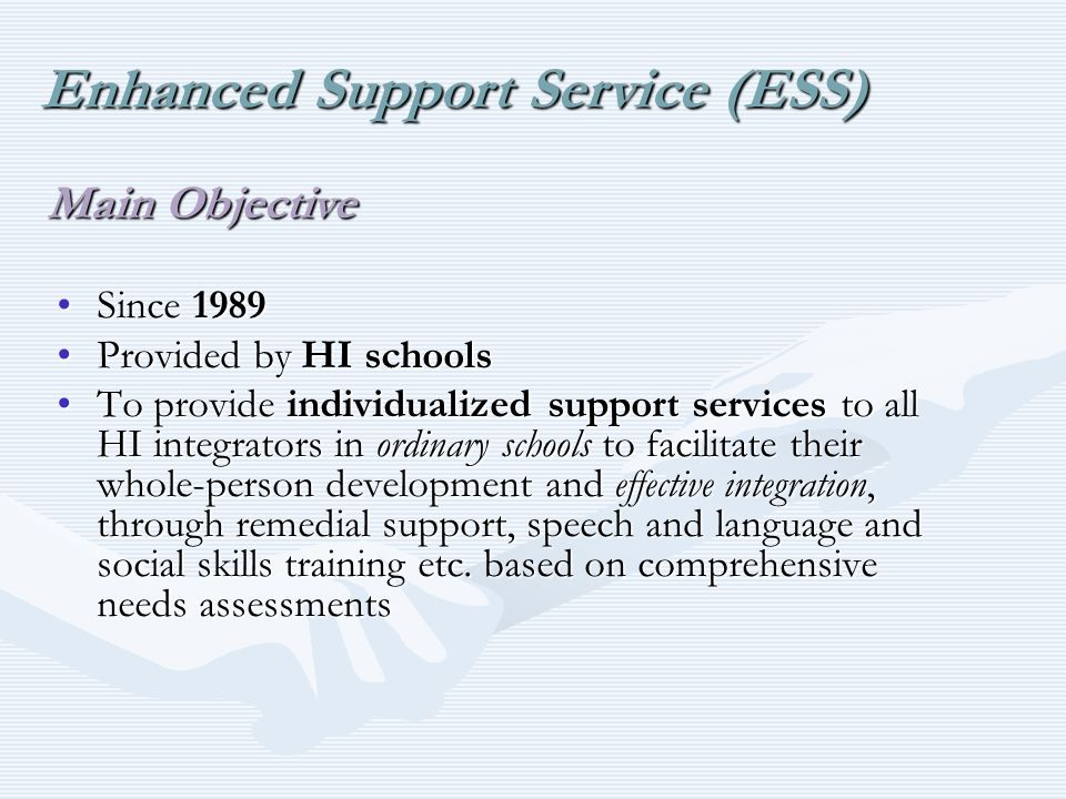 Since 1989Since 1989 Provided by HI schoolsProvided by HI schools To provide individualized support services to all HI integrators in ordinary schools to facilitate their whole-person development and effective integration, through remedial support, speech and language and social skills training etc.