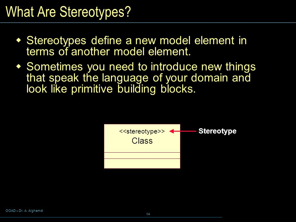 OOAD – Dr. A. Alghamdi 14 Class > What Are Stereotypes.