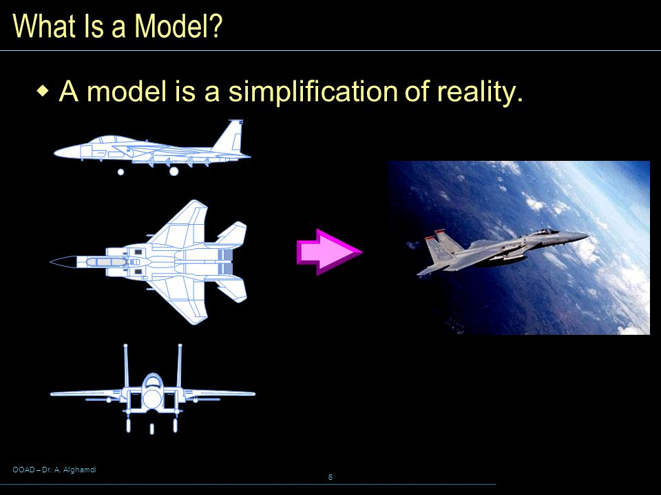 OOAD – Dr. A. Alghamdi 6 What Is a Model  A model is a simplification of reality.