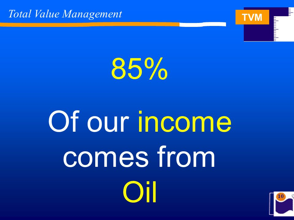 TVM 10 85% Of our income comes from Oil Total Value Management