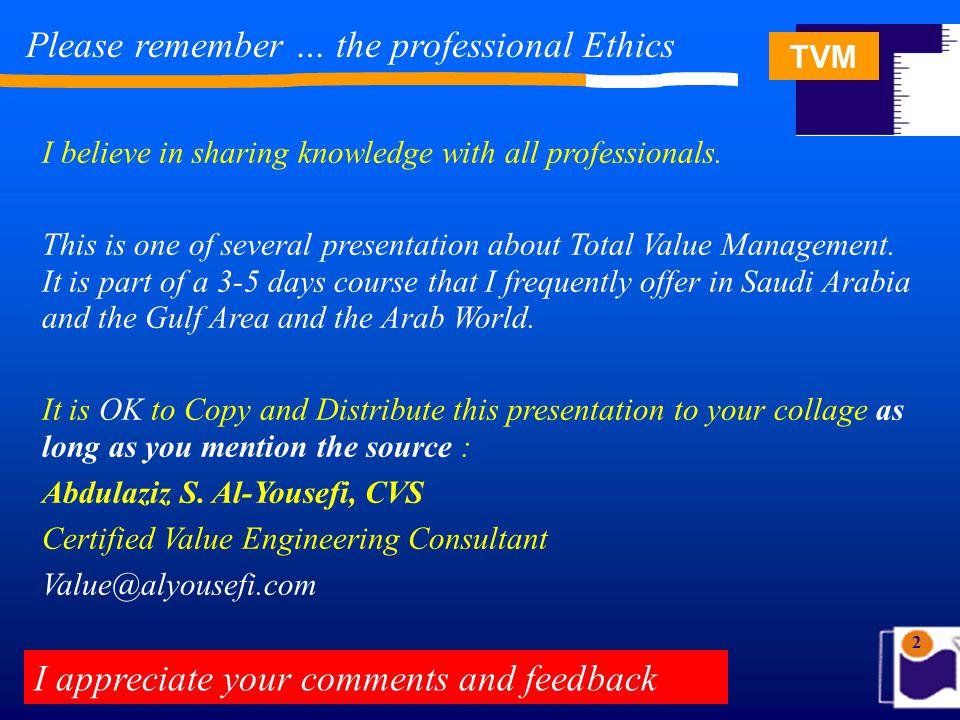 TVM 63 Total Value Management Total Value Management TVM