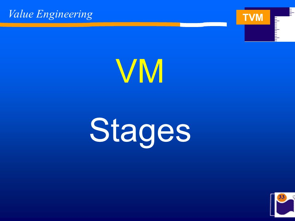TVM 33 VM Stages Value Engineering