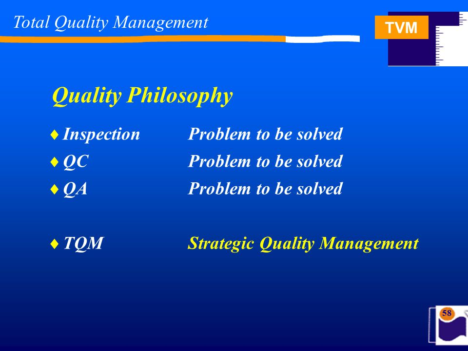 TVM 58 Quality Philosophy  InspectionProblem to be solved  QCProblem to be solved  QAProblem to be solved  TQMStrategic Quality Management Total Quality Management
