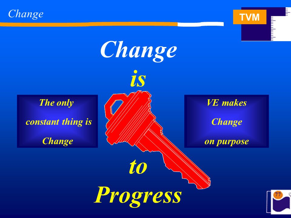 TVM 77 Change is to Progress Change The only constant thing is Change VE makes Change on purpose
