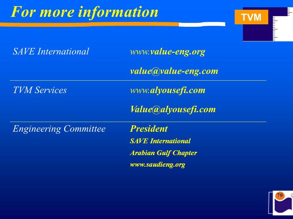 TVM 79 For more information SAVE International www.value-eng.org value@value-eng.com TVM Serviceswww.alyousefi.com Value@alyousefi.com Engineering Com