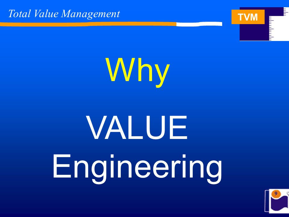 TVM 40 Total Value Management The 1- 10 - 100 Rule The 1-10-100 rule states if a problem is not fixed when it occurs, it will only become more costly to fix later ….