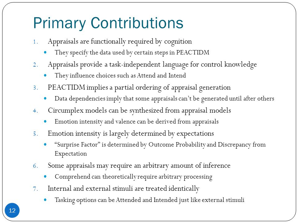Primary Contributions 12 1.