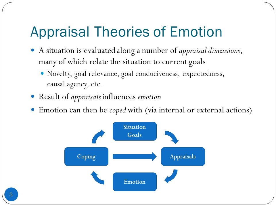 Appraisal Theories of Emotion A situation is evaluated along a number of appraisal dimensions, many of which relate the situation to current goals Novelty, goal relevance, goal conduciveness, expectedness, causal agency, etc.