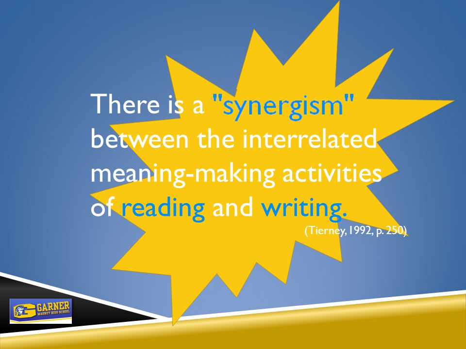 ESSENTIAL QUESTION FOR TODAY How can teachers tap into the synergism between reading and writing to teach the POWER of content knowledge to our students?