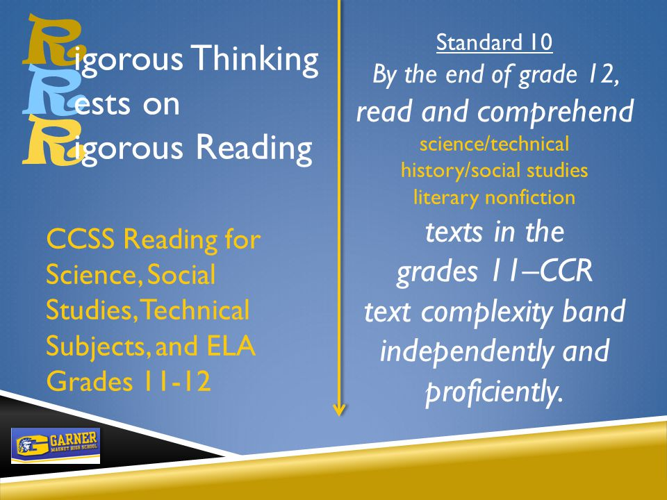 R R Standard 10 By the end of grade 12, read and comprehend science/technical history/social studies literary nonfiction texts in the grades 11–CCR text complexity band independently and proficiently.