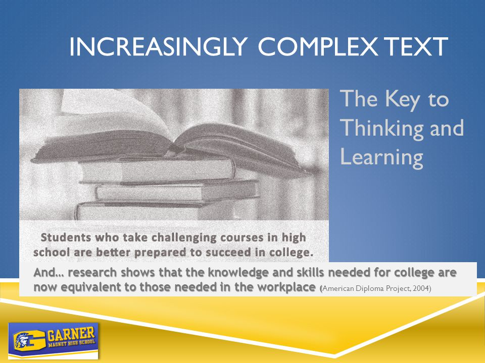 INCREASINGLY COMPLEX TEXT The Key to Thinking and Learning And… research shows that the knowledge and skills needed for college are now equivalent to those needed in the workplace ( And… research shows that the knowledge and skills needed for college are now equivalent to those needed in the workplace ( American Diploma Project, 2004)