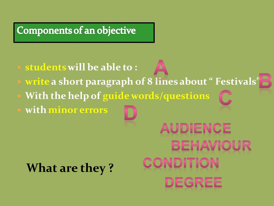 students will be able to : write a short paragraph of 8 lines about Festivals With the help of guide words/questions with minor errors What are they ?