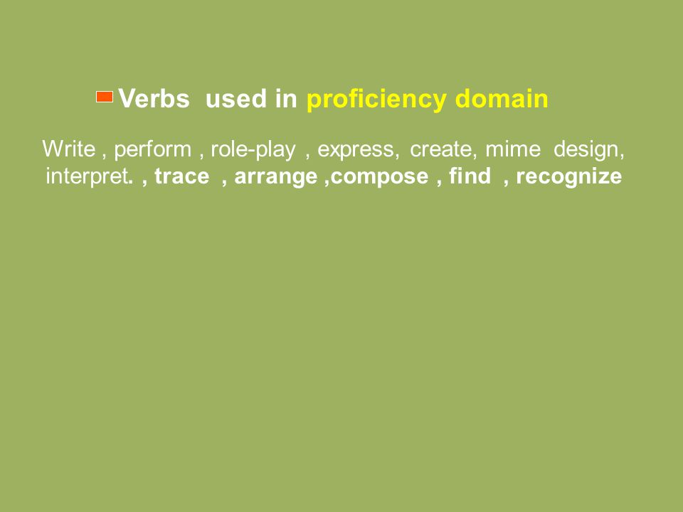 Verbs used in proficiency domain Write, perform, role-play, express, create, mime design, interpret., trace, arrange,compose, find, recognize