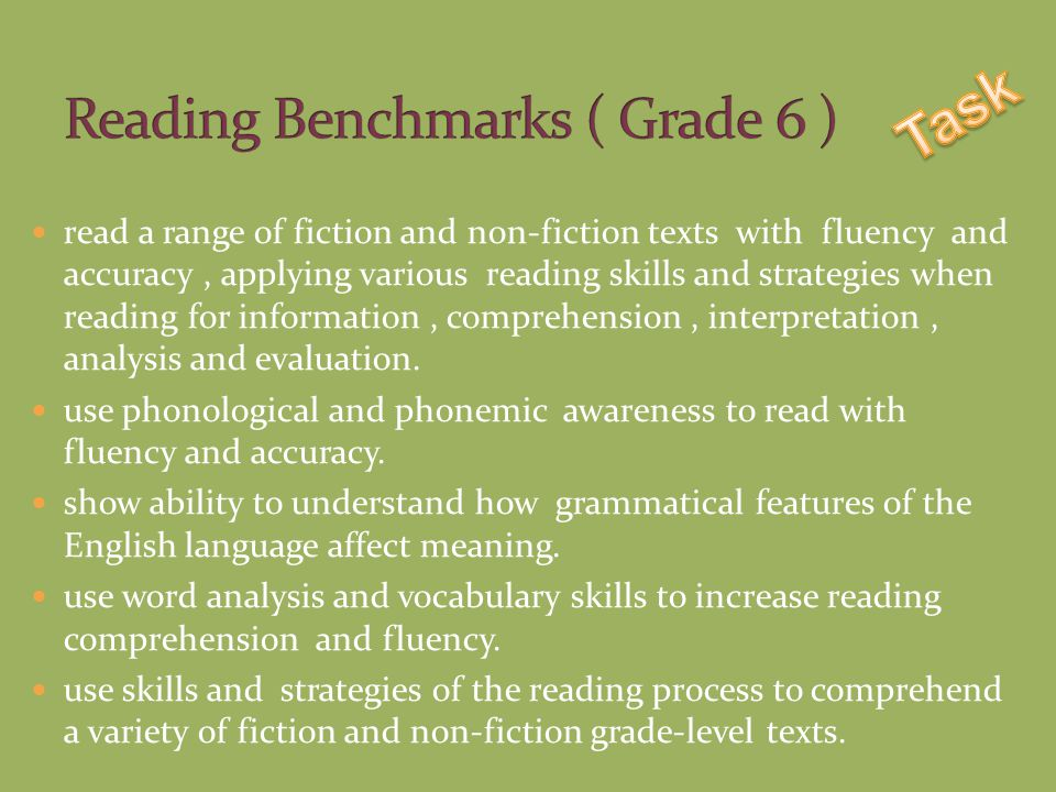 read a range of fiction and non-fiction texts with fluency and accuracy, applying various reading skills and strategies when reading for information, comprehension, interpretation, analysis and evaluation.