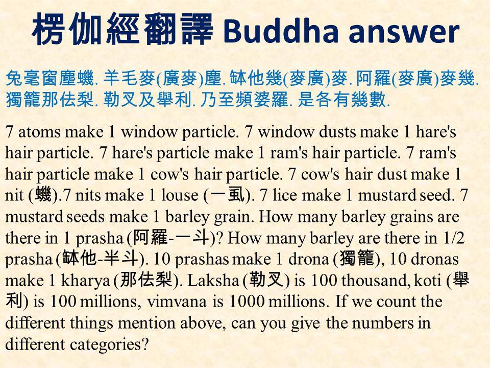 楞伽經翻譯 Buddha answer 兔毫窗塵蟣. 羊毛麥 ( 廣麥 ) 塵. 缽他幾 ( 麥廣 ) 麥.