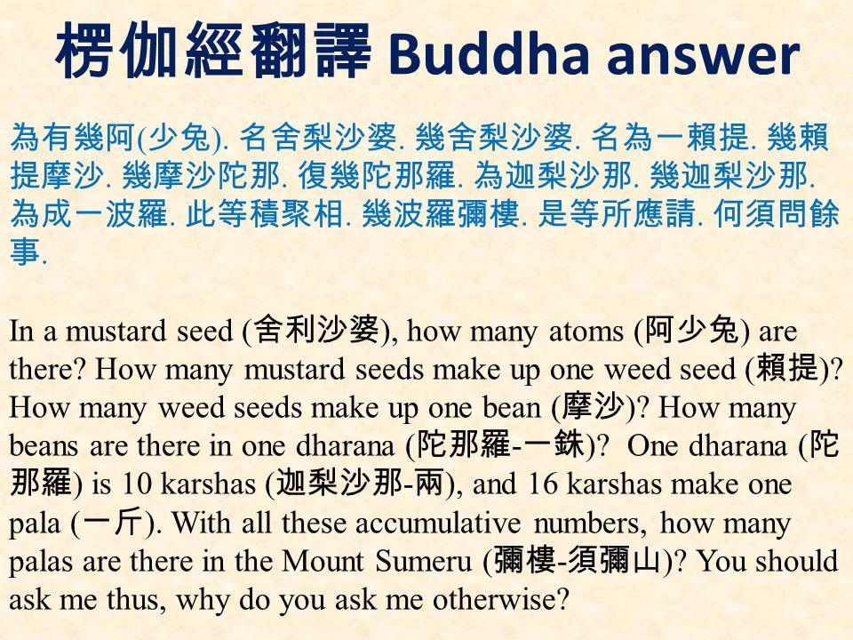 楞伽經翻譯 Buddha answer 為有幾阿 ( 少兔 ). 名舍梨沙婆. 幾舍梨沙婆. 名為一賴提.
