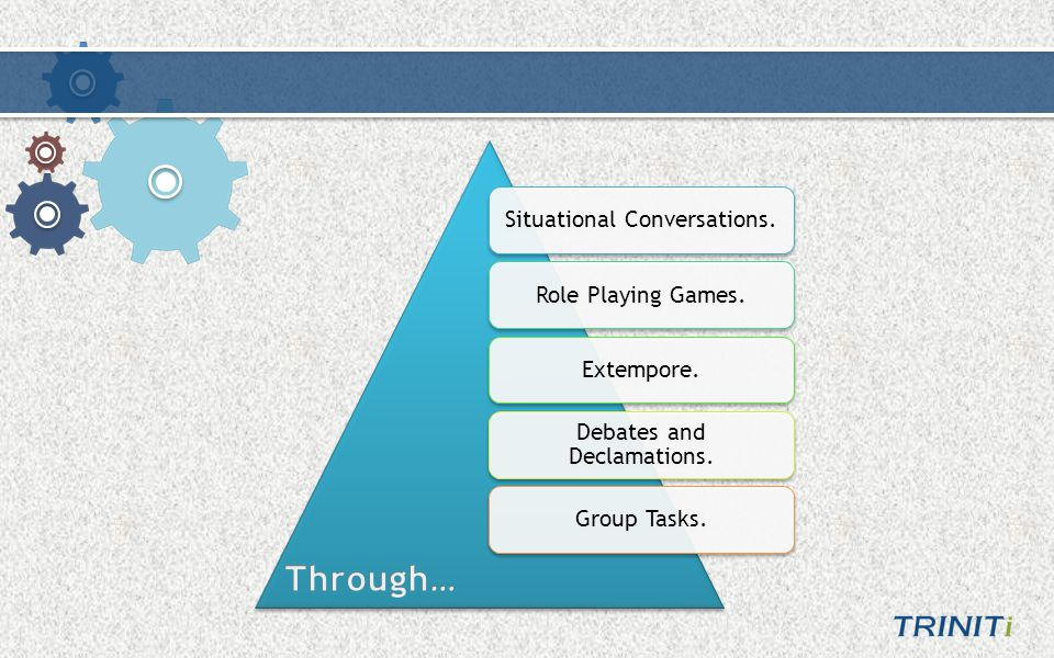 Situational Conversations.Role Playing Games.Extempore. Debates and Declamations. Group Tasks.