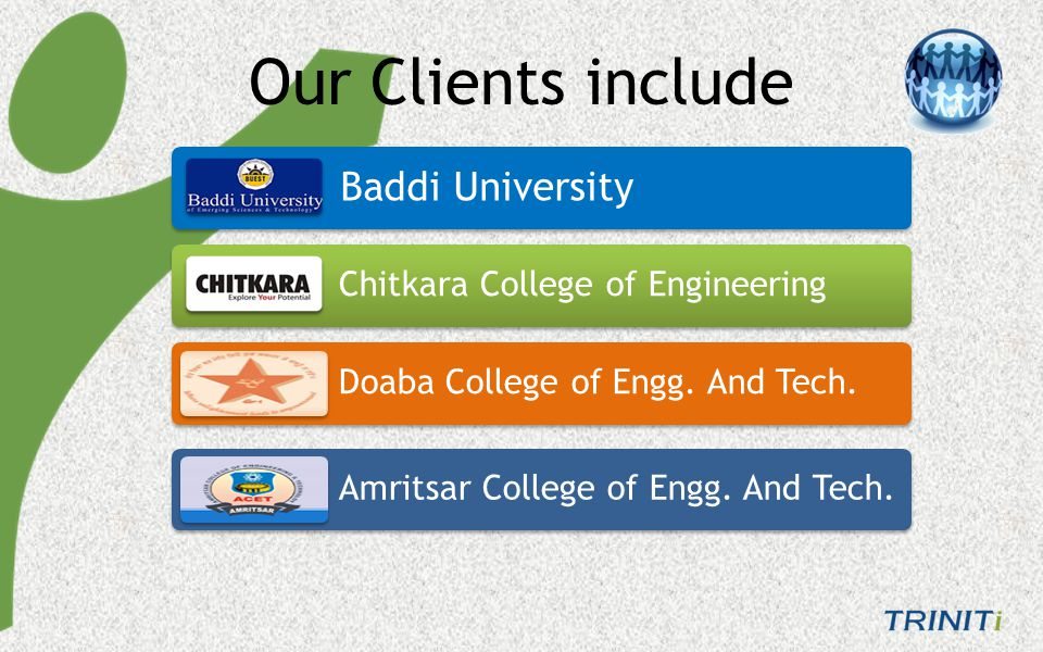 CT College, Jalandhar Ramgarhia College, Phagwara Rayat & Bahara Group Lovely Professional University Our Clients also include
