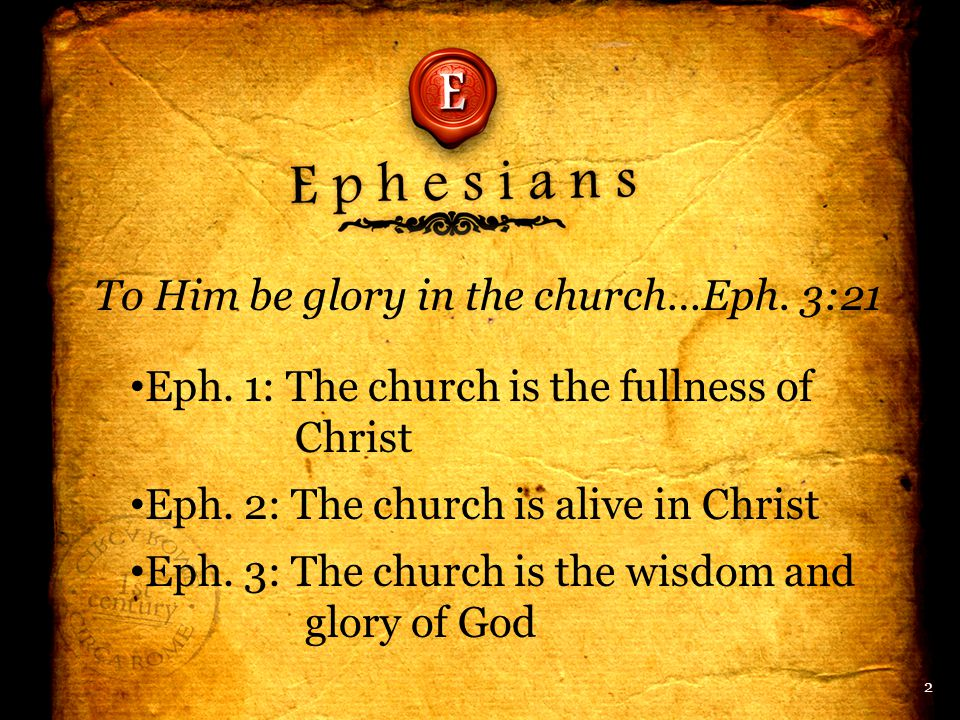 To Him be glory in the church…Eph. 3:21 Eph. 1: The church is the fullness of Christ Eph.