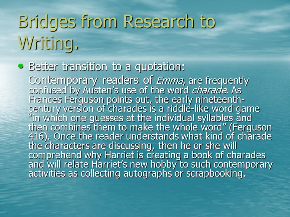 Format for Short Quotations Any quotation of 3 or more words from a source must be in quotation marks and followed by a citation.