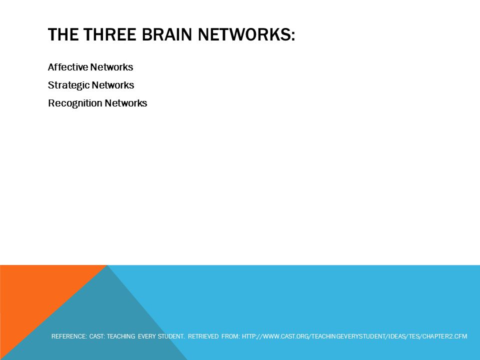 THE THREE BRAIN NETWORKS: Affective Networks Strategic Networks Recognition Networks REFERENCE: CAST: TEACHING EVERY STUDENT. RETRIEVED FROM: HTTP://W