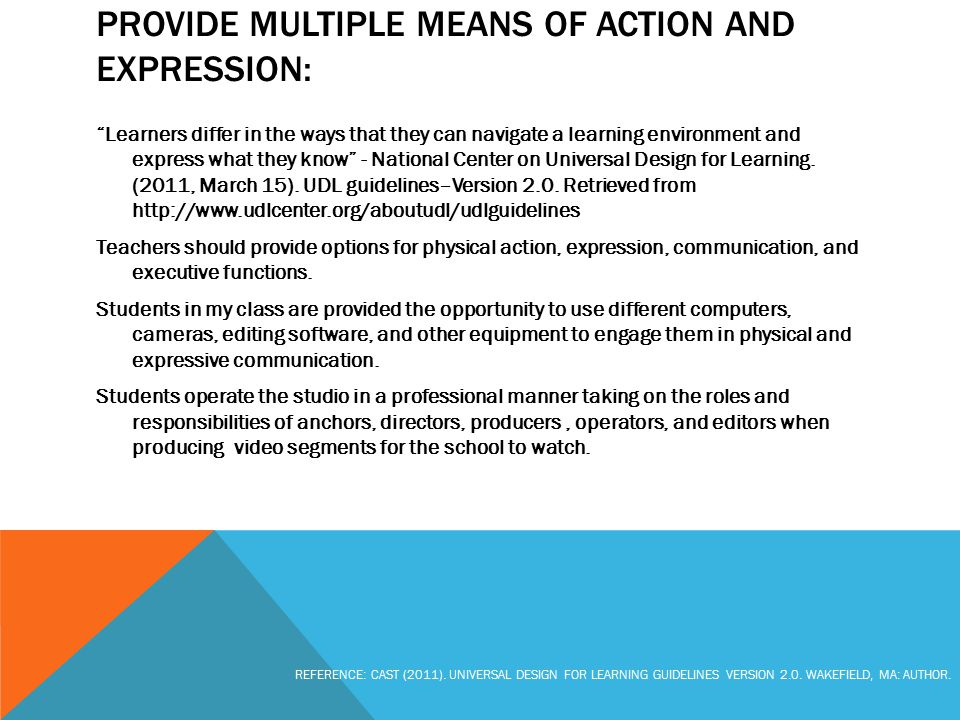 "PROVIDE MULTIPLE MEANS OF ACTION AND EXPRESSION: ""Learners differ in the ways that they can navigate a learning environment and express what they know"