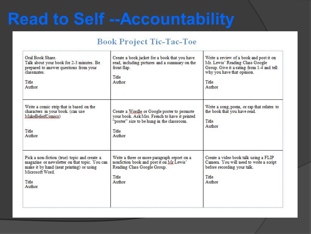 Read to Self --Accountability