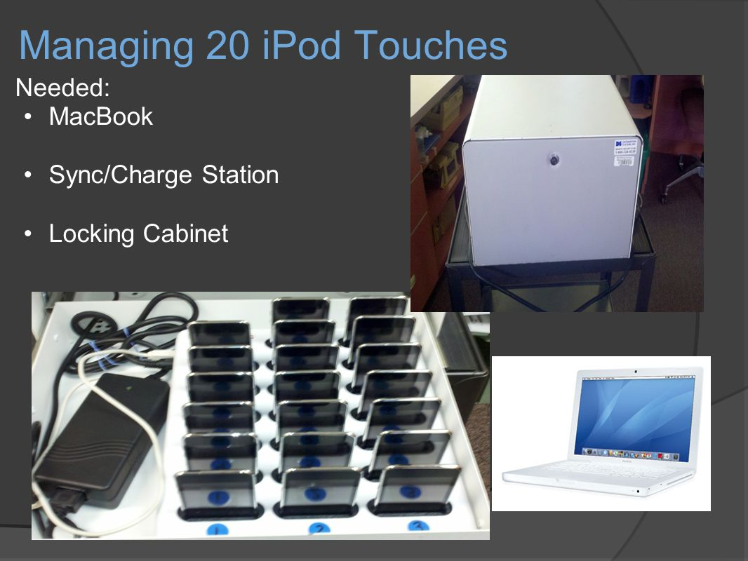 Managing 20 iPod Touches Needed: MacBook Sync/Charge Station Locking Cabinet