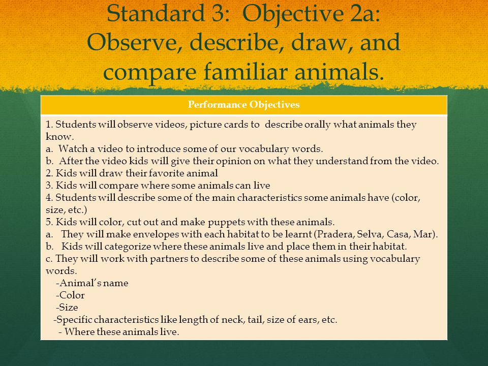 Performance Objectives: Based on the Utah's State Core, Standard 3, students will develop an understanding of their environment.