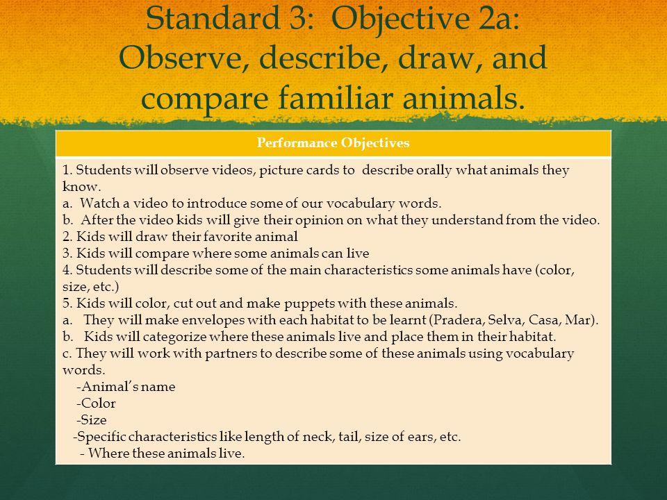 Standard 3: Objective 2a: Observe, describe, draw, and compare familiar animals.