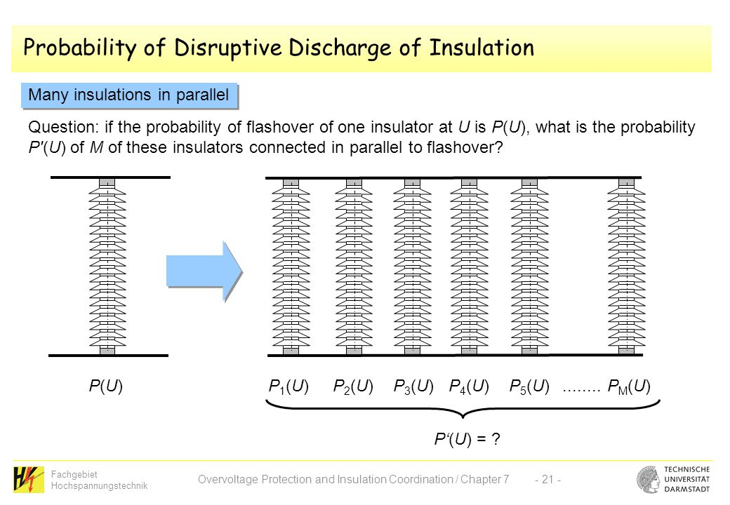 Fachgebiet Hochspannungstechnik Overvoltage Protection and Insulation Coordination / Chapter 7- 21 - Probability of Disruptive Discharge of Insulation Many insulations in parallel P(U)P(U)P1(U)P1(U)P2(U)P2(U)P3(U)P3(U)P4(U)P4(U)P5(U)P5(U)PM(U)PM(U)........