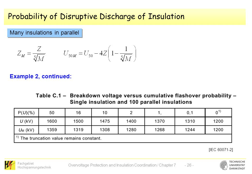 Fachgebiet Hochspannungstechnik Overvoltage Protection and Insulation Coordination / Chapter 7- 26 - Probability of Disruptive Discharge of Insulation Many insulations in parallel Example 2, continued: [IEC 60071-2]