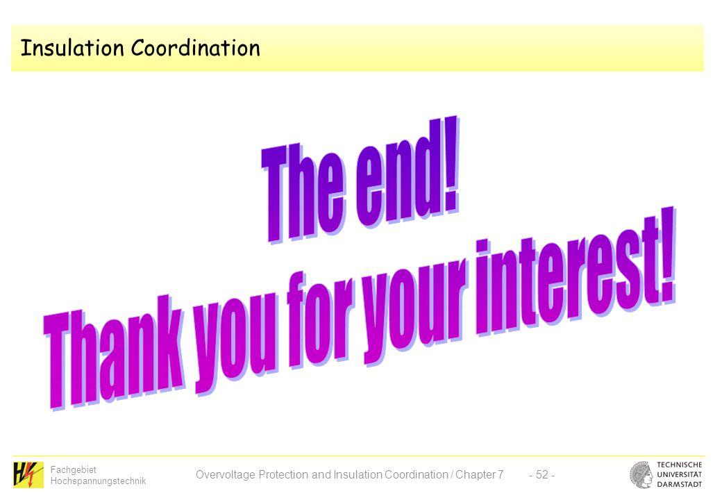 Fachgebiet Hochspannungstechnik Overvoltage Protection and Insulation Coordination / Chapter 7- 52 - Insulation Coordination