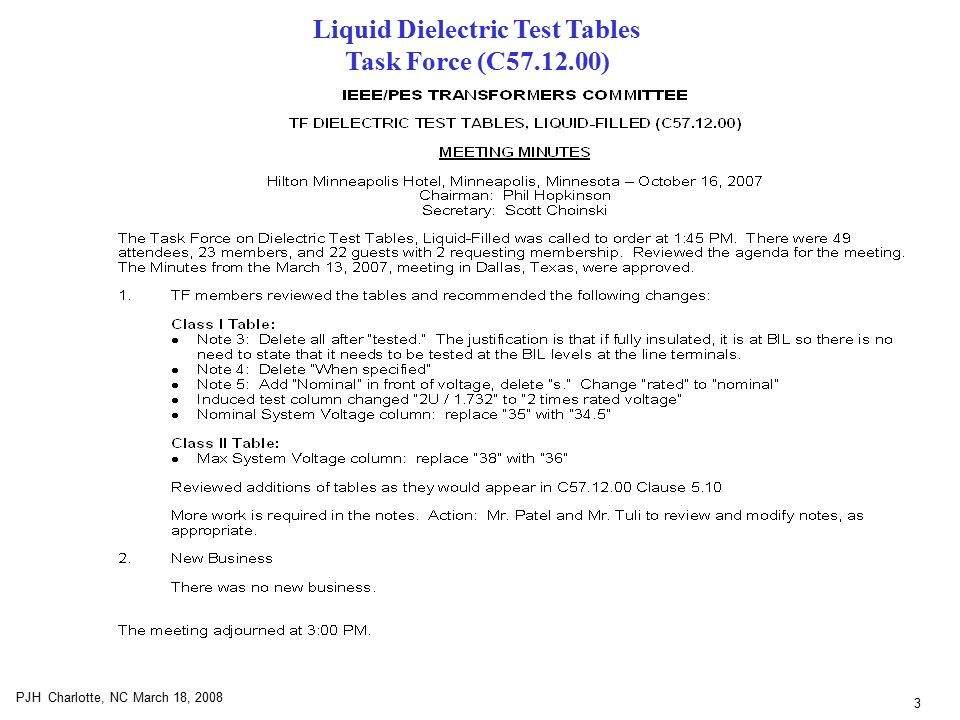 3 PJH Charlotte, NC March 18, 2008 Liquid Dielectric Test Tables Task Force (C57.12.00)
