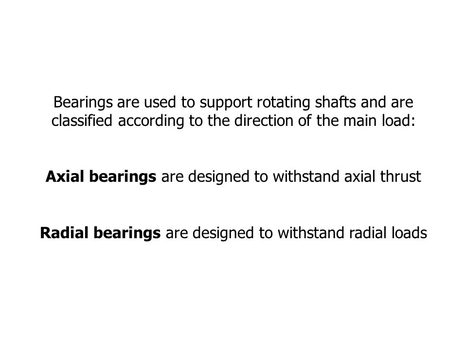 Bearings are used to support rotating shafts and are classified according to the direction of the main load: Axial bearings are designed to withstand