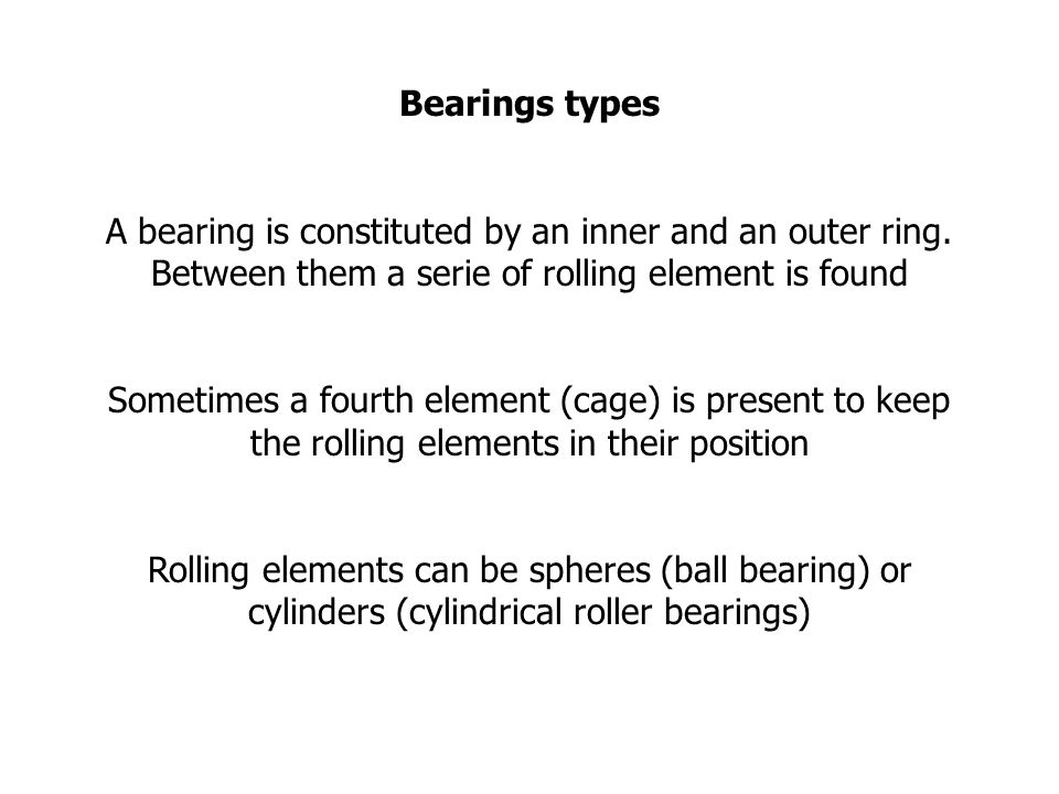 Bearings types A bearing is constituted by an inner and an outer ring.