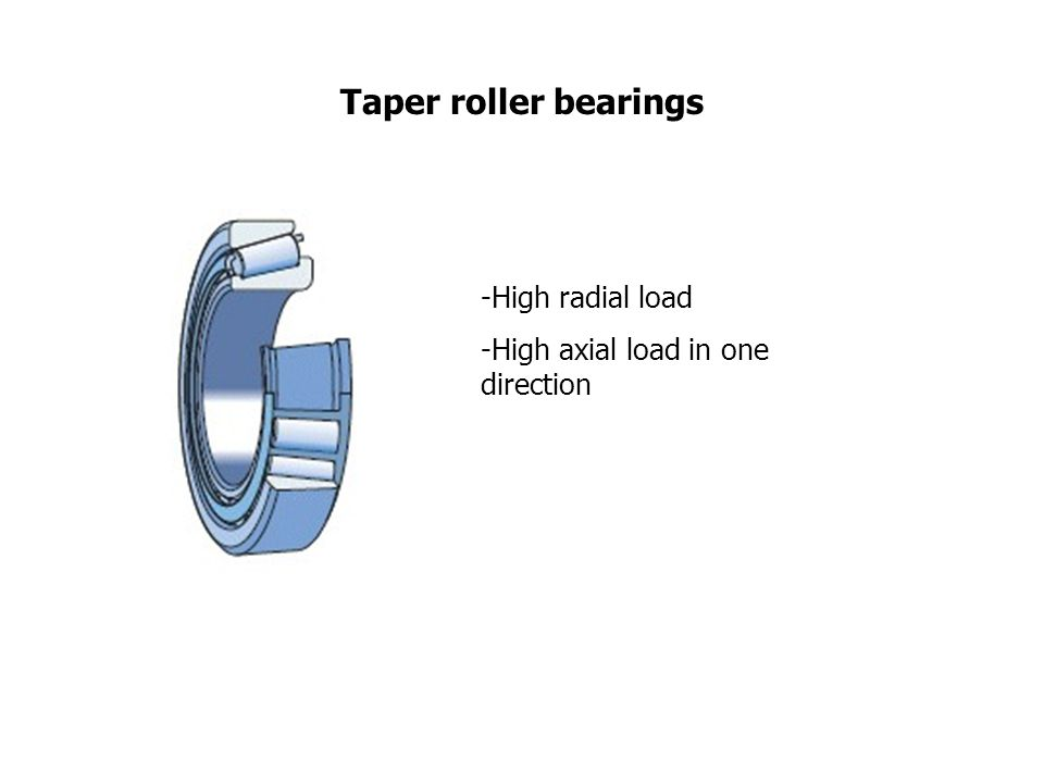Taper roller bearings -High radial load -High axial load in one direction